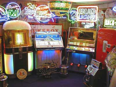 The showroom with a range of vintage jukeboxes